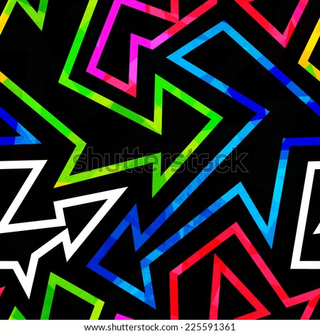 neon geometric seamless pattern with grunge effect - stock vector