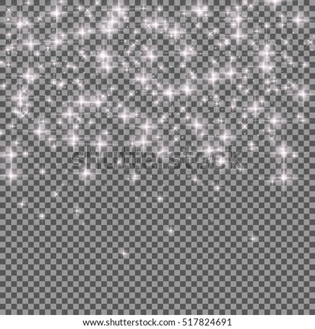 Neon Glitter Particles on Transparent Background. Luxury  Effect for Rich Greeting Card. Winter and New Year Sparkling Snowflakes Texture.  Realistic Vector illustration for Your Design EPS10