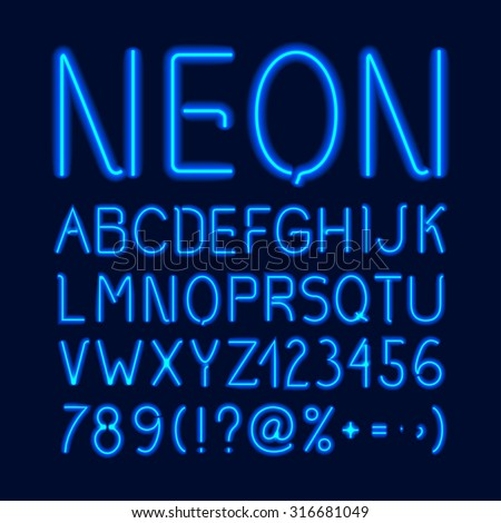Neon glow alphabet with blue letters numbers and symbols isolated on dark background vector illustration - stock vector