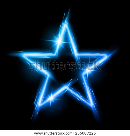 Neon glowing blue star with reflection in space - stock vector