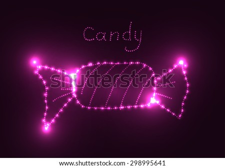 Neon glowing element. Candy consists of points of light like constellation. Vector illustration.