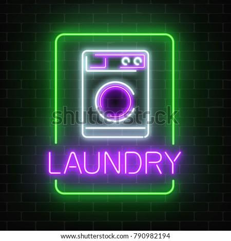 Neon Glowing Laundry Signboard On Dark Brick Wall Background Illuminated Self Service Washhouse Sign