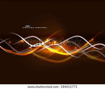 Neon glowing lines with glittering abstract background