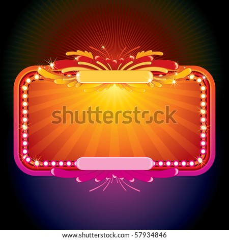 Neon glowing poster  sign for your text or design