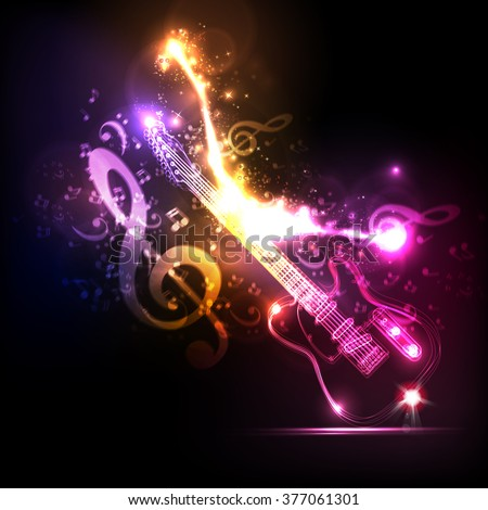 Neon guitar grunge music party - stock vector