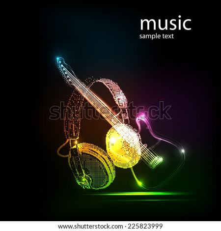 neon guitar with Headphones, grunge music  easy all editable  - stock vector