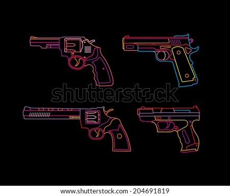 Neon Handgun sign. Pistols and Revolvers. Isolated neon silhouettes on black background. - stock vector