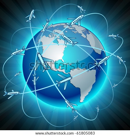 Neon high-detailed Communication Earth. Vector. - stock vector