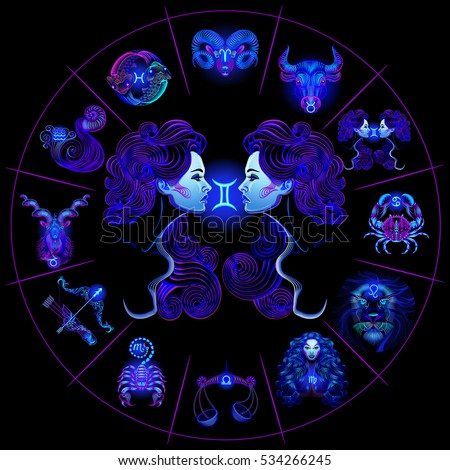 Neon horoscope circle with signs of zodiac. Set astrology signs. Gemini.