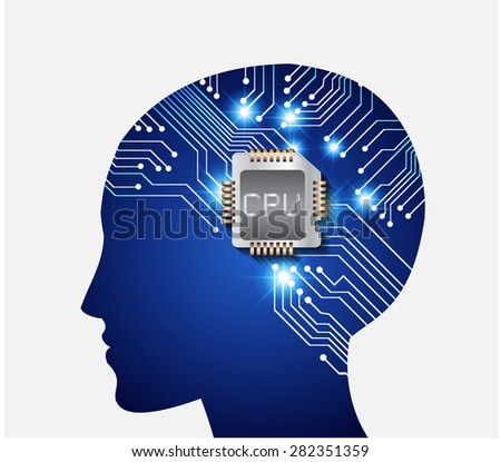 Neon human head. CPU. blue Circuit board. Vector illustration. Abstract Technology background for computer graphic website internet and business. info graphics. - stock vector
