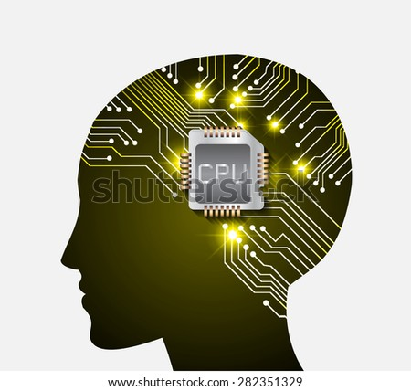 Neon human head. CPU. dark yellow Circuit board. Vector illustration. Abstract Technology background for computer graphic website internet and business. info graphics. - stock vector