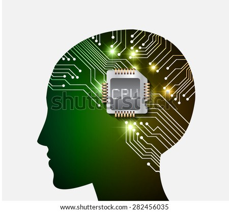 Neon human head. Cpu. green brown Circuit board. Vector illustration. Abstract Technology background for computer graphic website internet and business. infographics. - stock vector