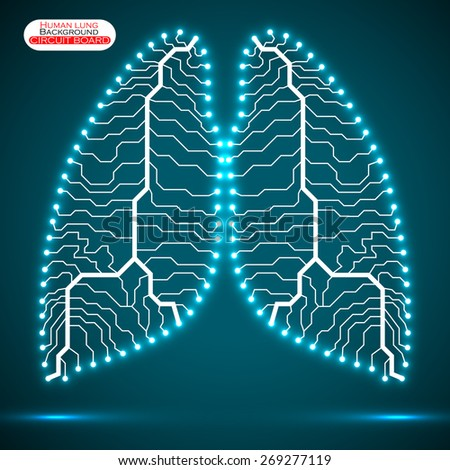 Neon human lung. Circuit board. Vector illustration. Eps 10 - stock vector