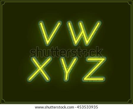 Neon Italic Font Type Alphabet. Glowing in Vector. - stock vector