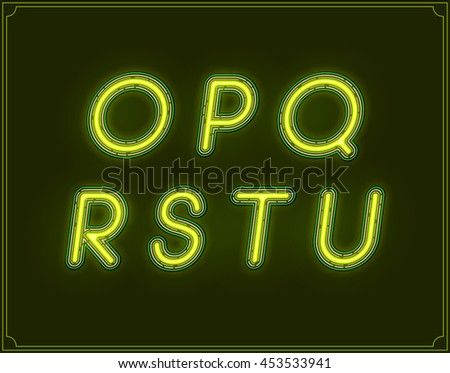 Neon Italic Font Type Alphabet. Glowing in Vector. - stock vector
