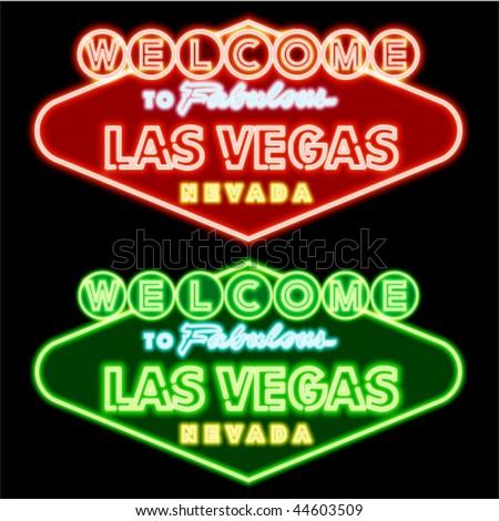 Neon Las vegas road sign - stock vector
