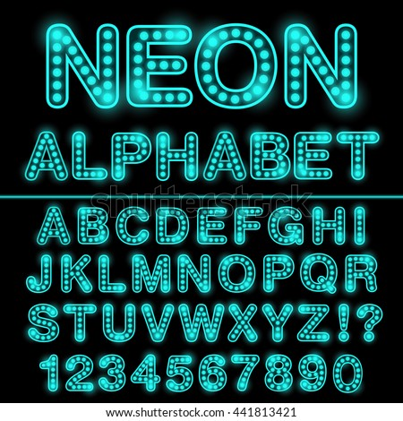Neon light alphabet in cyan color. Glowing font for design. Neon sign. Vector.