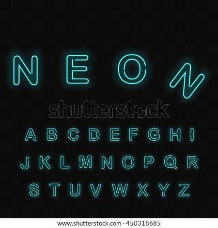 Neon Light Alphabet Vector Font. Neon  letters on dark checkered background - stock vector