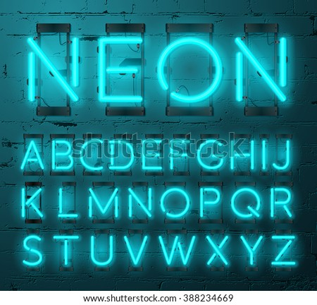 Neon Light Alphabet Vector Font. Type letters. Neon tube letters on Brick wall background - stock vector