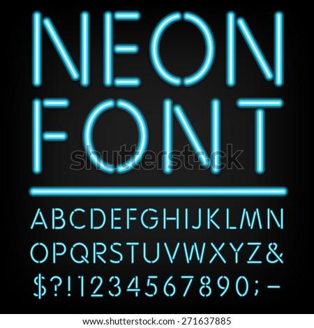 Neon Light Alphabet Vector Font Type letters numbers and #2: stock vector neon light alphabet vector font type letters numbers and punctuation marks neon tube letters on