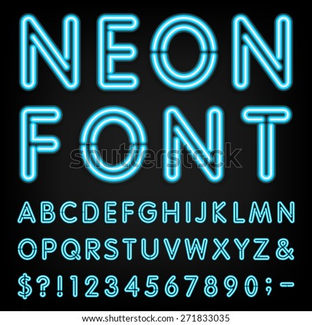 Neon Light Alphabet Vector Font. Type letters, numbers and punctuation marks. Neon tube letters on dark background - stock vector