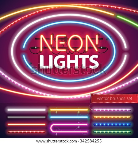 Neon Lights Decoration Set for Your Custom Sign. Used pattern brushes included. There are fastening elements in a symbol palette. - stock vector