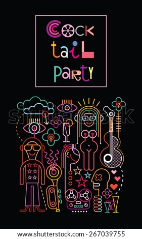 "Neon lights graphic design with text ""Cocktail Party"". Abstract vector composition with black background. - stock vector"