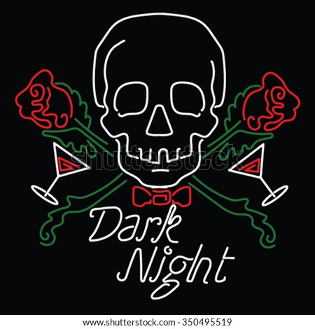 Skull Rose Stock Royalty Free & Vectors #2: stock vector neon lights sign skull vector