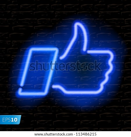 Neon Like/Thumbs Up symbol on brick wall background, vector Eps10 illustration. - stock vector