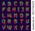 Neon line or fingerprint alphabet letters set. Font style, vector design template elements.