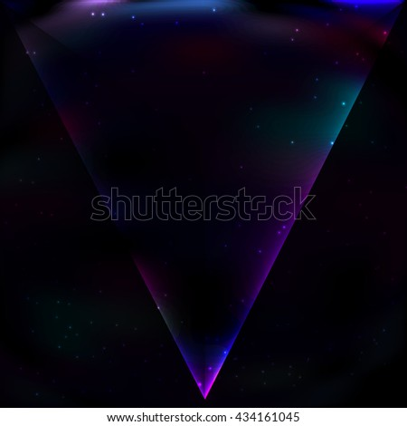 Neon  luminous triangle in retro style on background of the cosmos, an acute angle directed downward.
