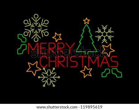 Neon Merry Christmas sign with stars, tree, holly and snowflakes - stock vector