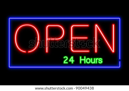 Neon Open Sign - stock vector