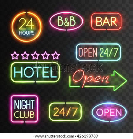 Neon open sign icon set with flash light for hotels shops casino for example vector illustration - stock vector