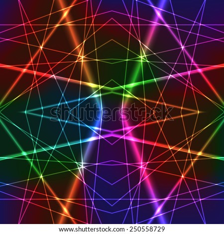 Neon Rainbow Colorful Laser Seamless Background with Random Beams - stock vector