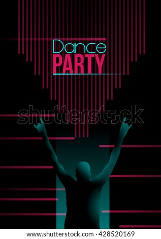 Neon Retro Dance Party Flyer - Vector Illustration - stock vector