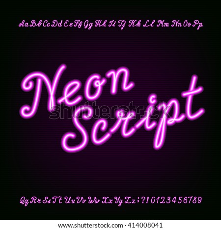 Neon script hand drawn alphabet font. Purple neon type letters and numbers on a dark background. Vector typeface for labels, titles, posters etc. - stock vector