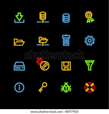 neon server icons - stock vector