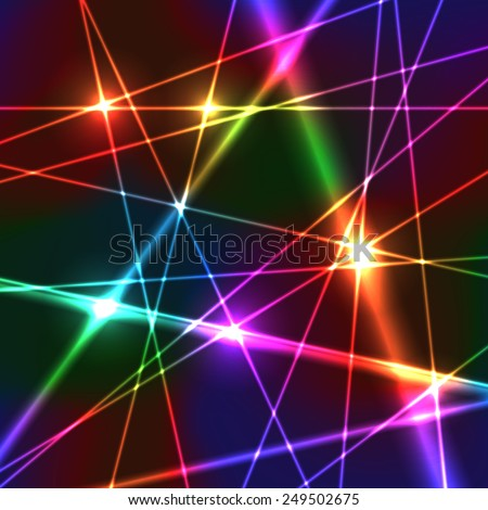 Neon Shiny Bright Rainbow Colors Laser Background - stock vector