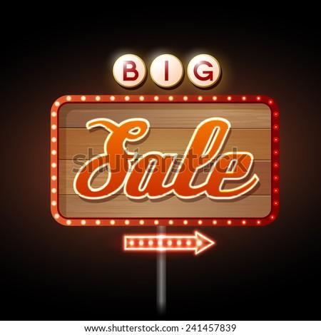 Neon sign big sale - stock vector