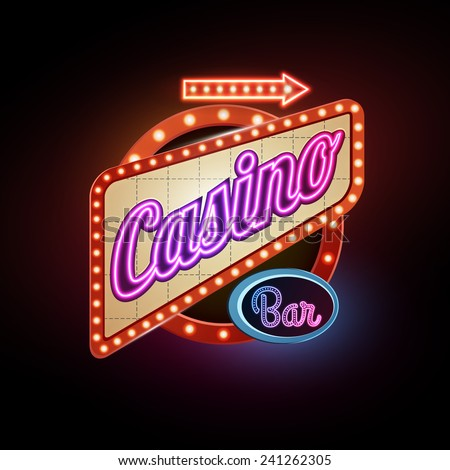 Neon sign. Casino - stock vector