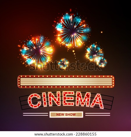 Neon sign. Cinema and firework - stock vector