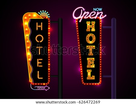 Neon Sign City Banner Hotel Set Vertically Horizontally Text Vector Illustration
