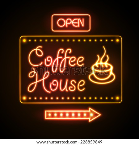 neon sign. Coffee house - stock vector