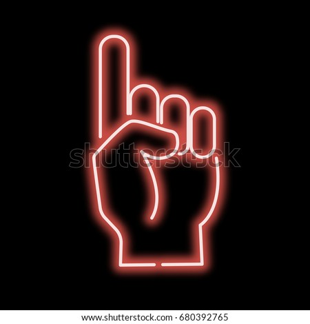 Hand Sign Stock Royalty Free & Vectors #2: stock vector neon sign hand pointing finger red sign on a black background vector illustration