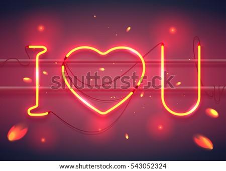 Neon Sign Love You Heart On Stock-Vektorgrafik 543052324 – Shutterstock
