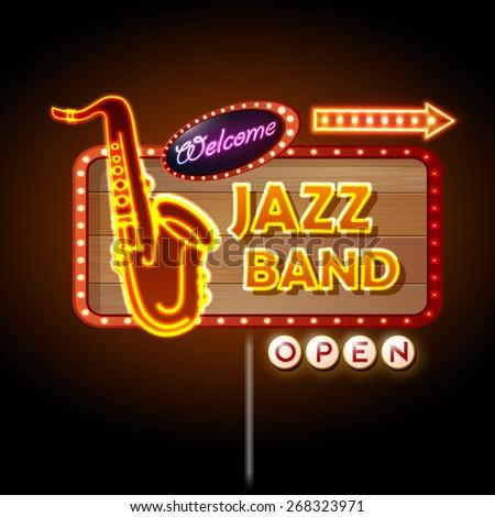 Neon sign Jazz band - stock vector