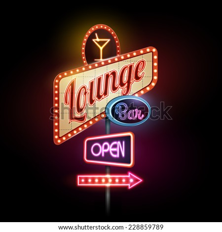 neon sign. Lounge bar - stock vector