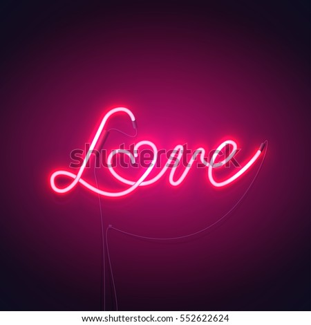 Neon Sign Word Love Heart On Stock V Rgrafik Lizenzfrei  Shutterstock