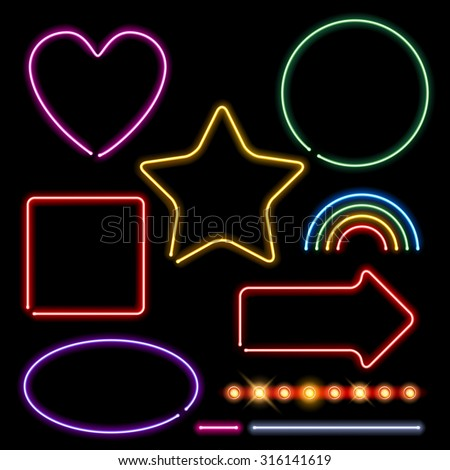 Neon signs set vector illustration - assorted forms and light bulbs border. Heart circle square star rainbow arrow designs. - stock vector